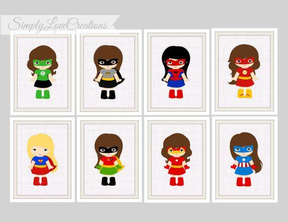 Superhero Prints  - Comic Book, Girls Room Decor, Playroom, Girls Super Hero Nursery, Superhero Decor, 5x7 Prints, Batgirl - Super Girl