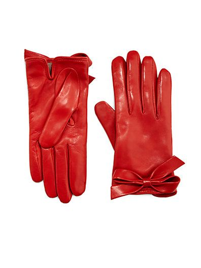 Valentino red leather gloves with bows ♥