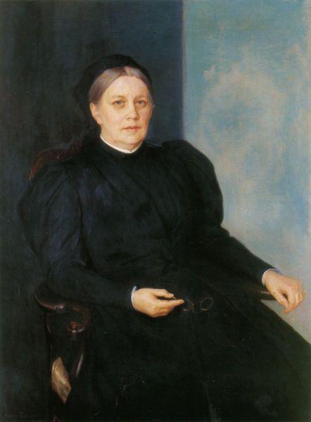 """Albert Edelfelt: """"Portrait of Alexandra Edelfelt"""" 1894 - Harrastelijarunoilijana esiintynyt äiti oli päässyt J. L. Runebergin piiriin. Äiti oli taiteilijan läheisin ihminen. Hän siirsi poikaansa runebergiläisen idealismin ja kansall.runoilijan ihailun. Albert Edelfelt oli paljossa myös kunnianhimoisen äitinsä luomus. Äitisuhde oli hänen niin suurin tukensa, kuin myös rajoittava tekijä ratkaisuissa."""