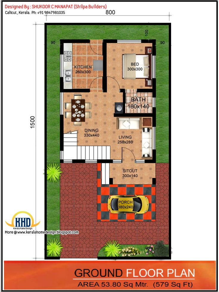 Ground floor plan 1062 sq ft 3 bedroom low budget house for 2 bedroom ground floor plan
