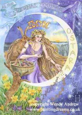 Book of Shadows:  The Vernal Equinox or Ostara, is one of the Lesser Sabbats, and is usually celebrated around March 21. Other names by which this Sabbat may be known are Oestara, Eostre's Day, Rite of Eostre, Alban Eilir, Festival of the Trees, and Lady Day. The Christian holiday of Easter is very near this same time, and is determined as the first Sunday after the first Full Moon after the Vernal Equinox.