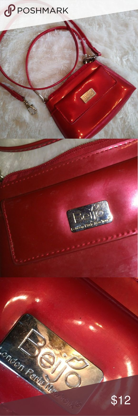 """Red Beijo London Paris New York Small Hand Bag 7"""" (W) x 4"""" (H) Hand or shoulder bag. In excellent condition. Any questions please ask. Thanks for viewing. Happy poshing! Beijo Bags Shoulder Bags"""