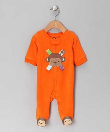 Take a look at this Orange Monkey Zip-Up Footie by Taggies on #zulily today! i didn't know taggies made clothes!!