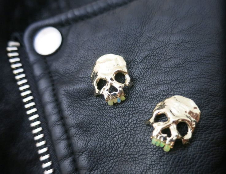 Margaret  Cross Opal teeth skull -must need for my leather jacket