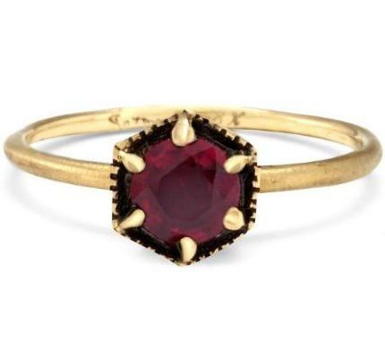 The Best Affordable (But Beautiful) Engagement Rings: Hexagon Ruby Ring by Satomi Kawakita // Explore More Indie Brands Making Rings Under $3000: (http://www.racked.com/2015/12/1/9750854/engagement-ring-prices)