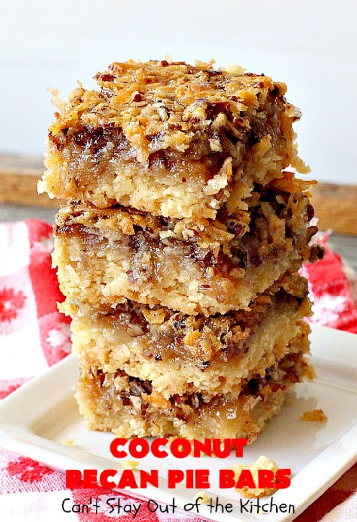 Coconut Pecan Pie Bars   Can't Stay Out of the Kitchen   these fantastic #brownies are rich, decadent and so mouthwatering you won't want to put them down! Like eating #pecanpie but with #coconut added. #dessert #cookies #pecans