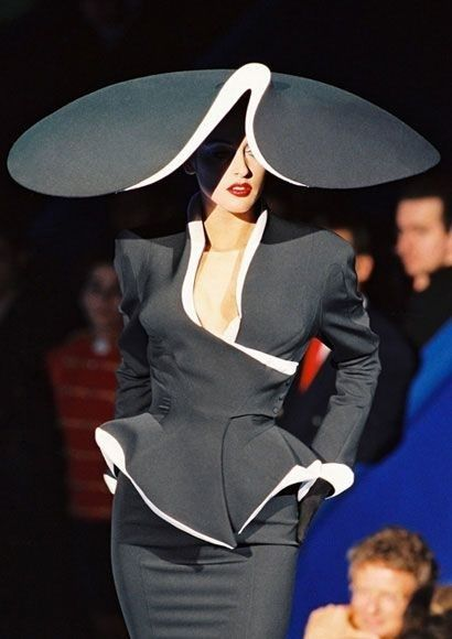 This stunning Black satin midi dress with white trim & matching hat from the Thierry Mugler  Vintage Fashion collection