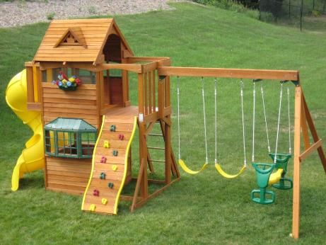 Summerville Wood Gym Set swing-set - with a swing-set like this a playhouse is included!
