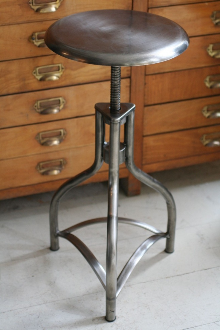 METAL ADJUSTABLE STOOL New Steel Industrial Style, Adjustable Height Stools.  FInished In Gun Metal Colour Steel And (up To .
