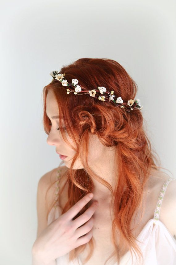 Ivory floral crown hair wreath flower head piece bridal