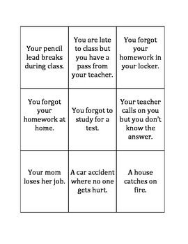 """To go along with Michelle Garcia Winner's Social Thinking curriculum, this is a set of cards with problem statements on them. Some are small problems (""""You broke your pencil lead""""), some are medium problems (""""You forgot to study for a science test""""), and some are big problems (""""Your parents are getting divorced"""")."""