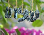 Peace in Hebrew  Shalom hanging letters Ceramic letters for any room Ceramic alphabet  Personalized Hebrew letters
