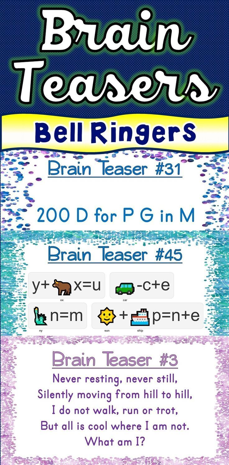 Brain Teasers Riddles Brain Breaks Puzzles Bell
