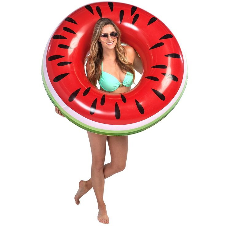 U.S. Pool Supply Giant 4 Foot Inflatable Watermelon Pool Ring Tube Float - Fun Kids Swim Party Toy - Summer Lounge Raft. HUGE WATERMELON FLOAT: Giant size, as it's 4 feet (48 inches) in diameter. For ages 8 and up. A great watermelon floating tube to cool off in the water during the summer. TASTY LOOKING DESIGN: A juicy watermelon slice with a green rind and brightly colored red watermelon flesh with with black seeds. PERFECT FOR KIDS and ADULTS: Ideal for kids and adults to have great...
