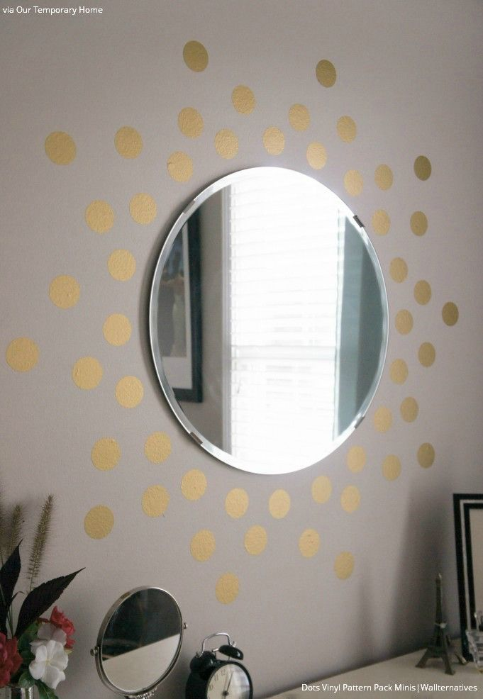 Gold Circles and Dots Wall Decals for Teen and Dorm Decor - Wallternatives
