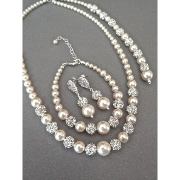Swarovski pearls and crystals 3 piece set Pearl... ❤ liked on Polyvore featuring jewelry, bracelets, pearl wedding jewellery, bridal jewellery, pearl bangles, wedding jewelry and bridal jewelry