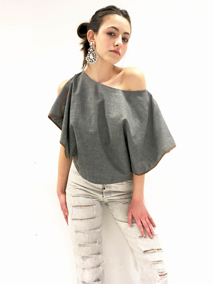 Shirt Blouse Gray Cotton LOLA DARLING Butterfly Sleeves Top with Bias in Brown Cotton Inventory Remaining Tissue Made in Italy One of a Kind di loladarlingirl su Etsy