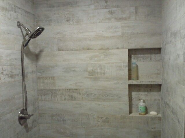 Porcelain Wood planks in shower wniche  All things TILE  Wood plank tile Wood planks Pool