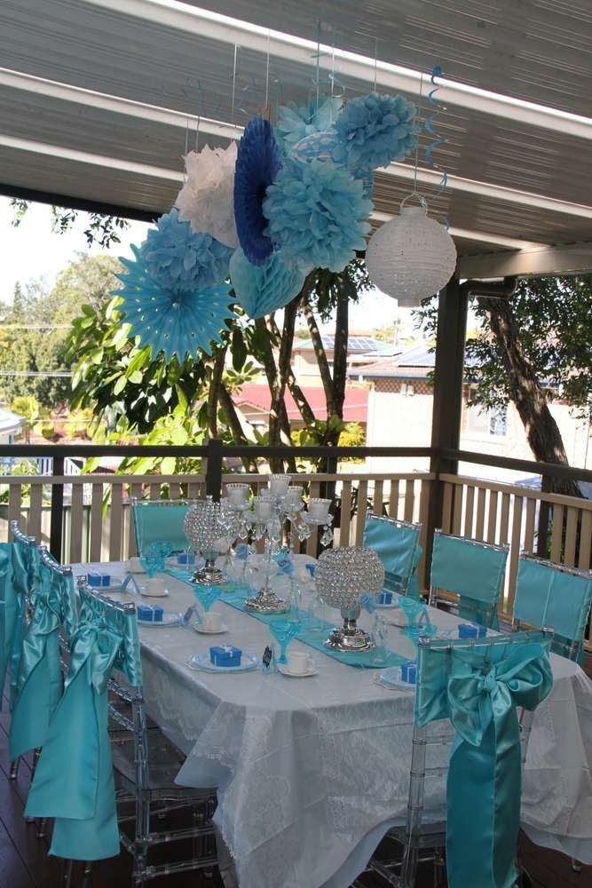 Decorated table at a blue tea party birthday party! See more party ideas at CatchMyParty.com!