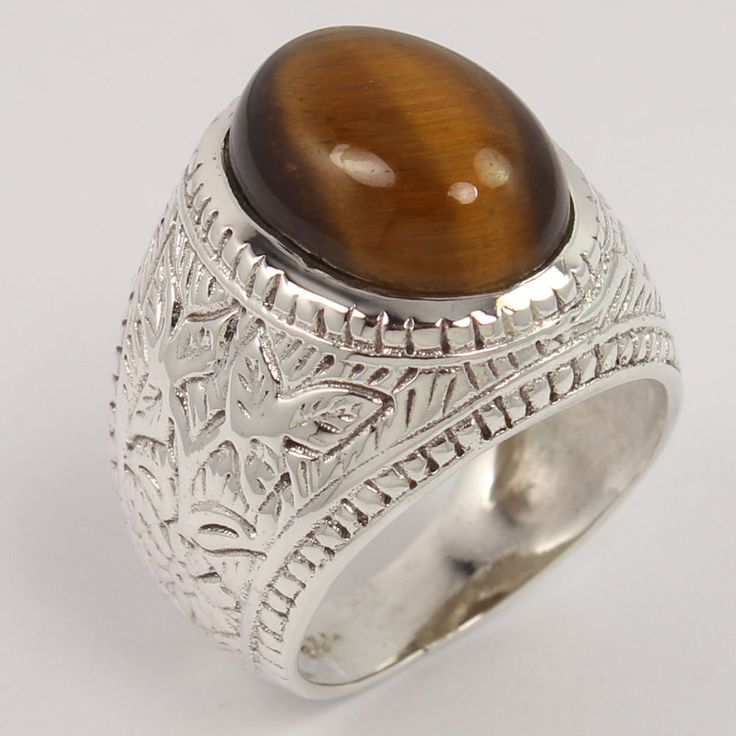 925 Sterling Silver Ring Size US 9 Natural TIGER'S EYE Gemstone FREE SHIPPING #Unbranded
