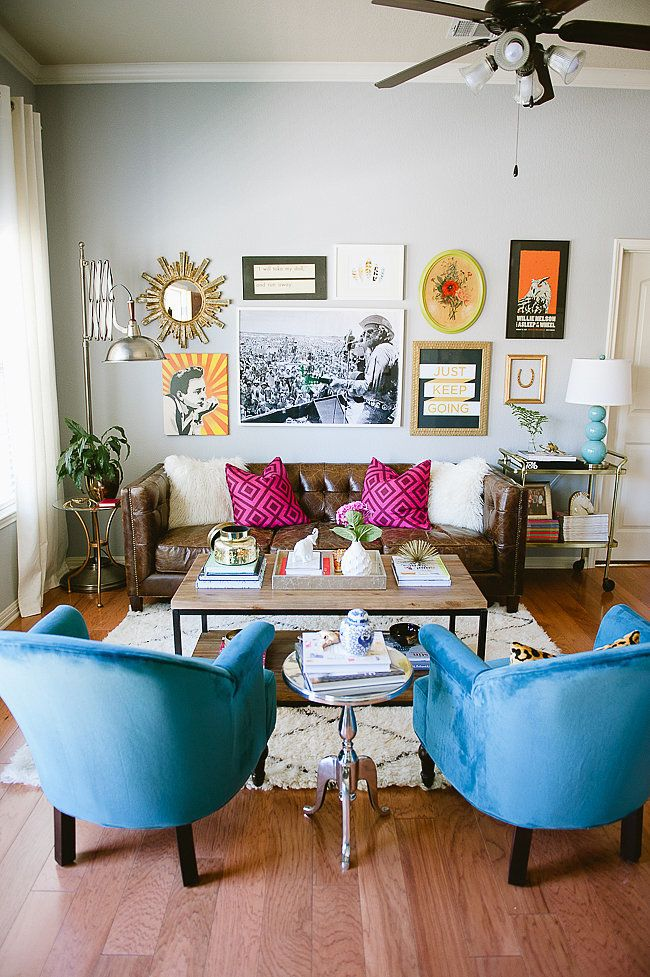 Youu0027d Never Guess This Townhouse Was Decorated On A Budget. Gallery Wall Living  Room CouchLeather Couch DecoratingTexas ...