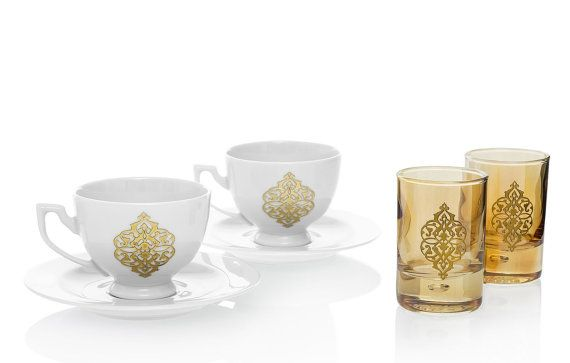 DECORISTAN Handmade Gold Rumi Turkish Coffee Set w/ 2