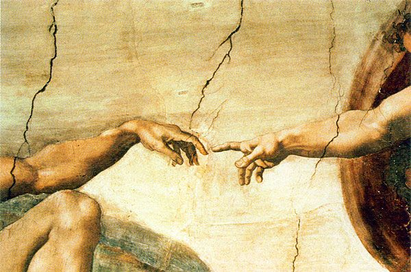 The Creation of Adam, a fresco painting in the Sistine Chapel, painted by Michelangelo. This is the image Mia sees in her meditation before travelling to Florence.