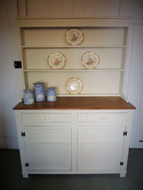 Shabby Chic Welsh Dresser Painted In An Antique Cream Chalk Paint