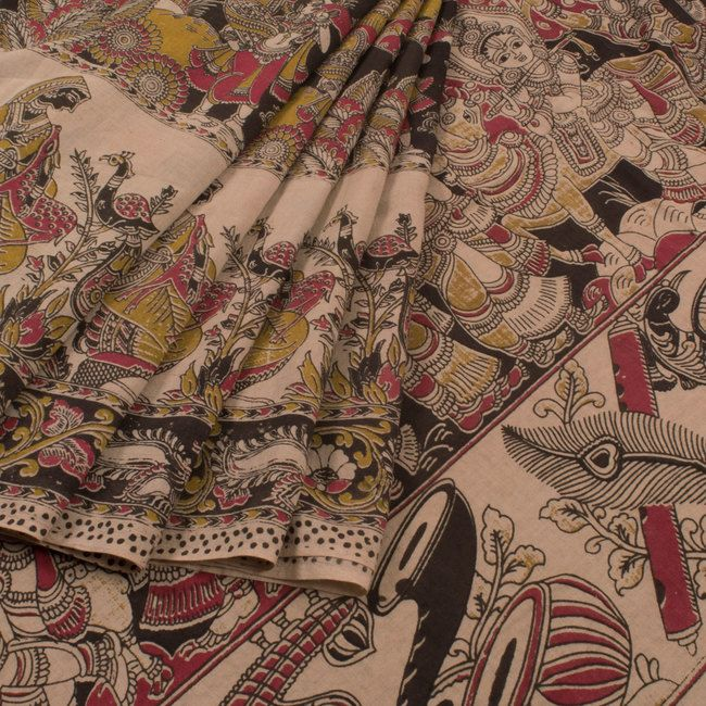 Hand Printed Black Kalamkari Cotton Saree With Fish, Peacock & Deer Motifs 10013866 - profile - AVISHYA.COM