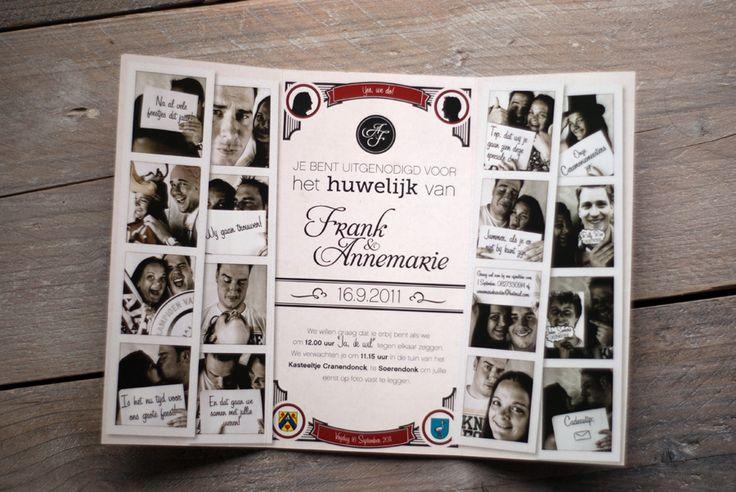 Trouwkaart met foto's voor Frank & Annemarie. Zij wilde graag een bijzonder originele trouwkaart met foto's