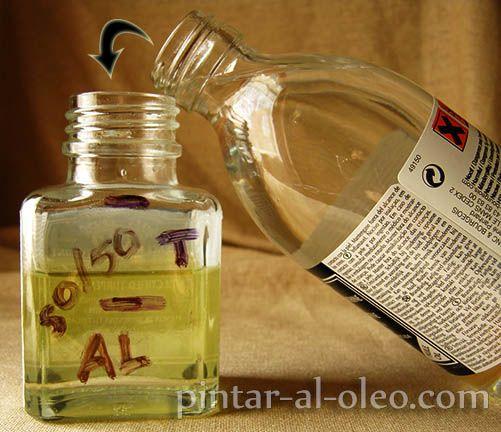 medio aceite de linaza trementina al 50
