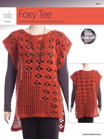 "AA886011 - Foxy Tee - $6.99 This unique tee is a year-round wardrobe must-have! It's perfect layered over a cami or a long-sleeve shirt. Crocheted using 2 (3, 3, 3, 4) skeins of Premier® Yarns Deborah Norville Alpaca Dance. Instructions are written for Woman's bust size S: 40"" (M: 46"", L: 50"", XL: 54"", 2XL: 58"")."