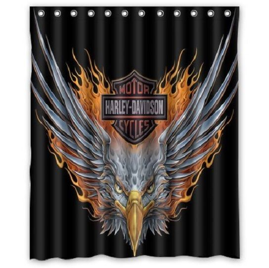 NEW Brand Waterproof Polyester Shower Curtain Harley Davidson #2( 60x72) Inch