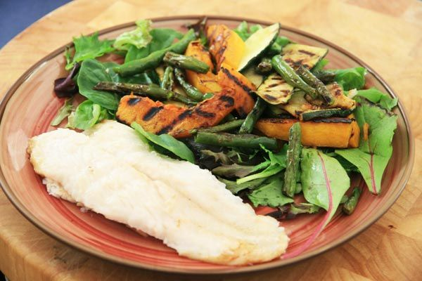 Days 9-12: One Month Diet Plan. Includes this pan-fried-fish-and-salad.