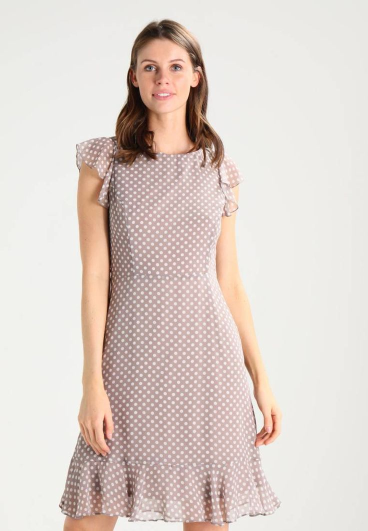 Wallis. Summer dress - taupe. Outer fabric material:100% polyester. Pattern:polka dot. Care instructions:do not tumble dry,machine wash at 30°C,Machine wash on gentle cycle. Neckline:round neck. Sleeve length:Extra short. Back ...