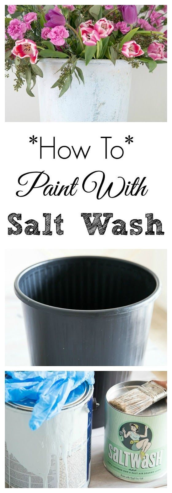 How To Use Saltwash Paint Additive For Upcycling furniture and accessories. DIY painting tips and using antiquing glaze. Trash to treasure for flowers