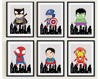 impresin de superhroe superhroe e impresin de sala de juegos imprimir