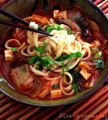 Spicy Korean Kimchi & Tofu Noodle Soup     |     Organize your favourite recipes on your iPhone or iPad with @RecipeTin! Find out more here: www.recipetinapp.com      #recipes #vegan