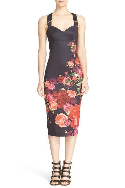 510e2ba406486 Black Juxtapose Rose Cocktail Work Office Dress in 2018