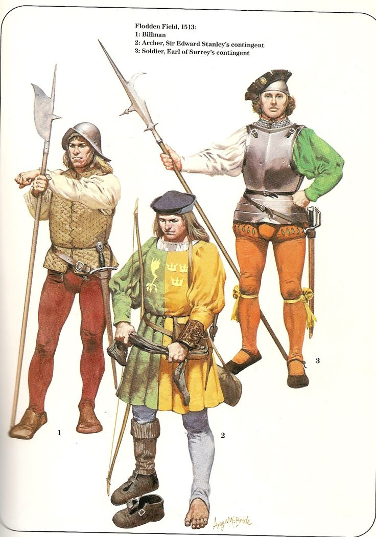 Early Tudor Infantry; Flodden Field L to R Billman, Archer of Sir Edward Stanley's contingent  Soldier Earl of Surrey's contingent.