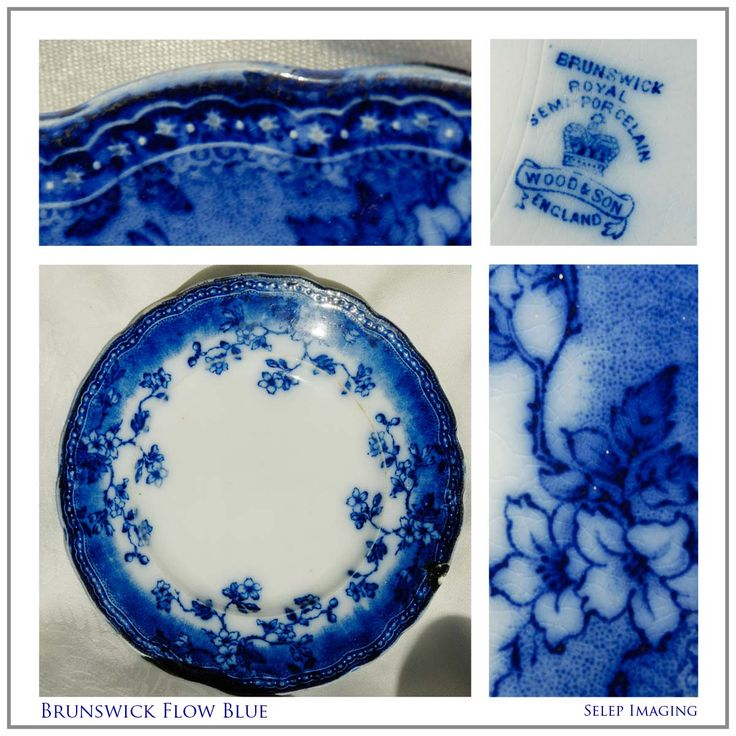 Flow Blue China plate Brunswick Wood and Son England Mark by Jeanne Selep Imaging