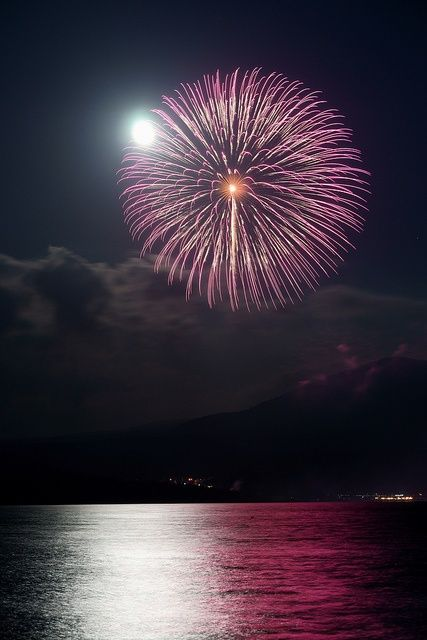 *Fireworks on a moonlit night