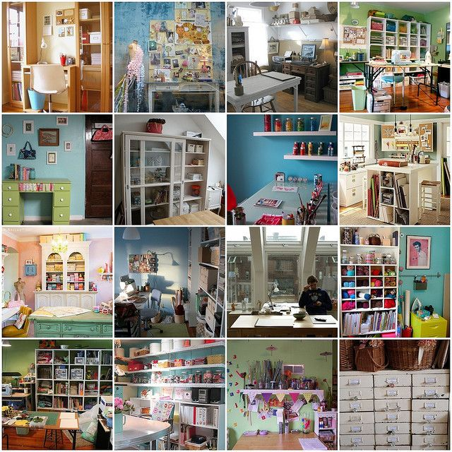 Various Craft Rooms- love these lay outs and organization