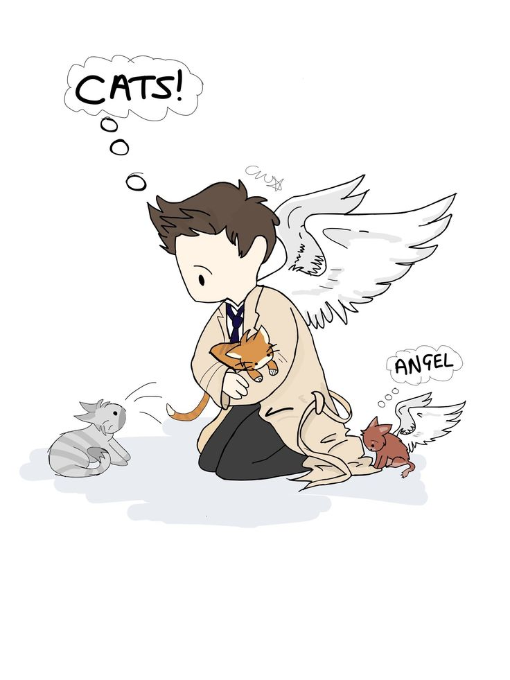 Cartoon Supernatural Castiel Fan Art - featuring cats