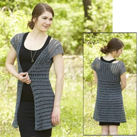 """Shadow Swing Cardigan - Free Crochet Pattern for Bust: 34 (38, 42, 46, 50)"""" by Rae Blackledge for Willow Yarns."""