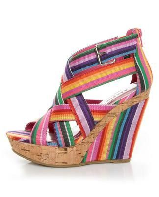 colorful: Bamboo Mirag, Stripes Wedges, Wedge Sandals, Fuchsia Rainbows, Wedges Sandals, Rainbows Wedges, Rainbows Stripes, 07 Fuchsia, Mirag 07