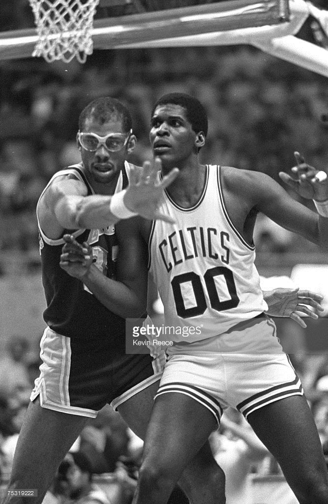 Kareem Abdul Jabbar and Robert Parish during the 1984 NBA Finals