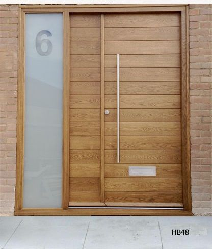 contemporary double doors, smallest door made to look like a wooden side panel
