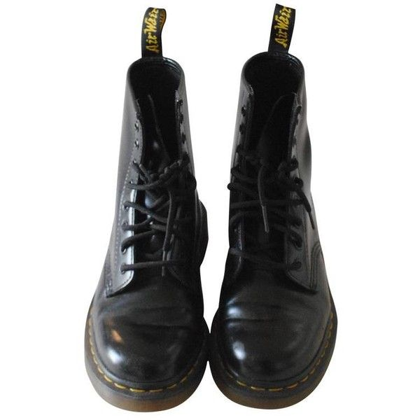 Preowned Dr Martens Women Black Boots ($134) ❤ liked on Polyvore featuring shoes, boots, black, dr. martens, dr martens boots, kohl shoes, black boots and dr martens shoes