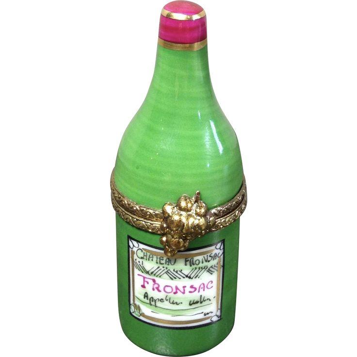 Limoges Porcelain Trinket Box-Wine Bottle --found at www.rubylane.com #vintagebeginshere #WineWednesday
